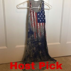 Girls size medium American flag high low dress